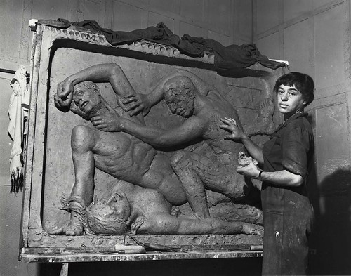 Helene Sardeau, American sculptor, 1899-1969, at work in her studio | by Smithsonian Institution