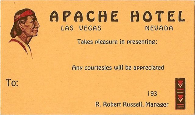 Apache Hotel Las Vegas Nevada Old 1930s Business Card From Flickr