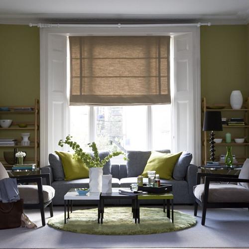 Living etc living room white and green symmetrical - White grey green living room ...