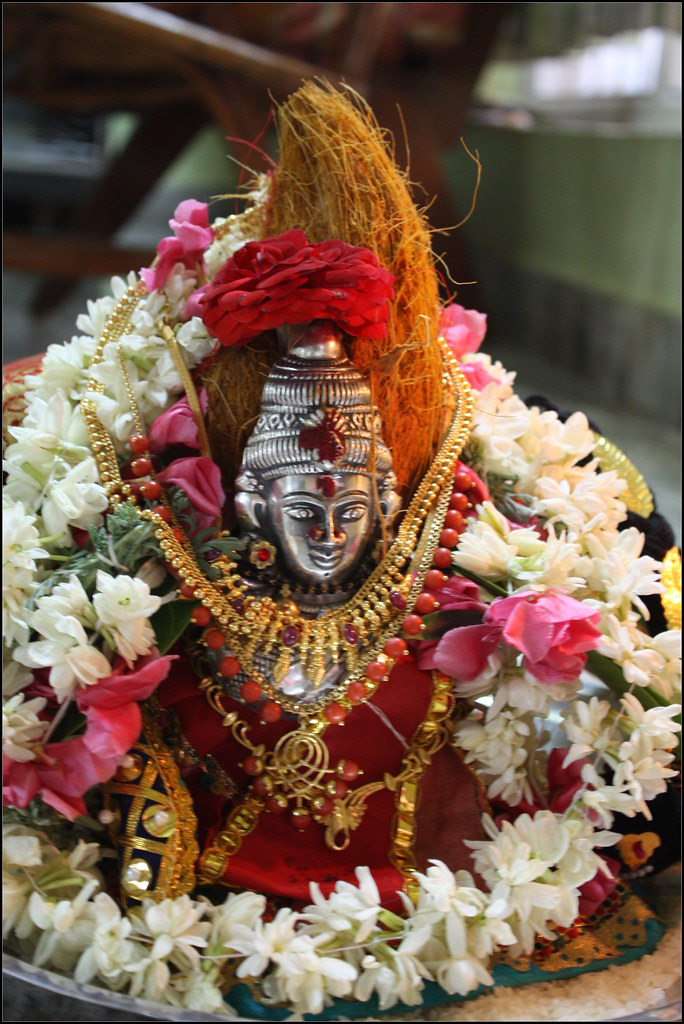 Varalakshmi amman a typical day of varalakshmi pujai for Aarti thali decoration with grains
