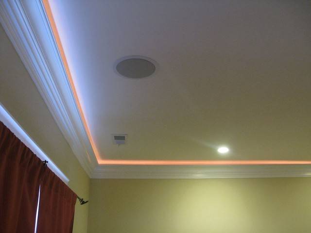 Crown Molding With Lights And Speakers In Master Bedroom Flickr