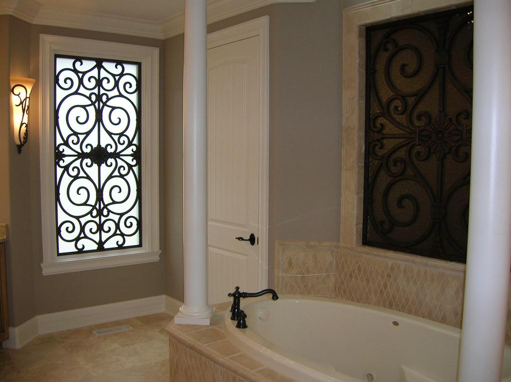 Faux Wrought Iron Bathroom Window Insert The