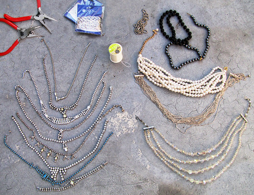 DIY-Tom-Binns-rhinestone-chains-pearl-chunky-choker-collar-necklace | by ...love Maegan