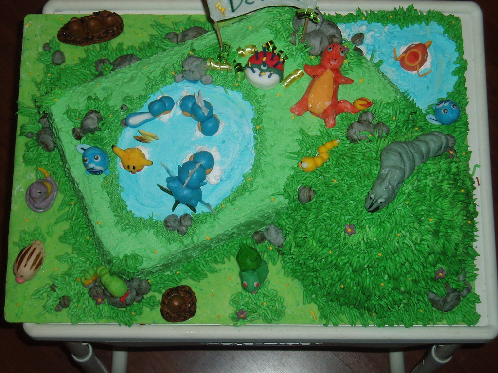 Pokemon Pool Party Birthday Cake Pokemon Hanging Around
