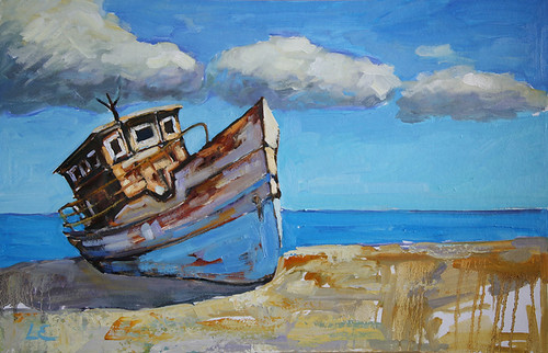 Rusty blue fishing boat oil painting flickr photo for Fishing boat painting