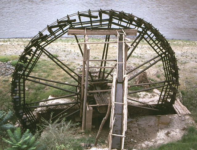 Historic Water Wheel Yellow River Ningxia Large Wooden