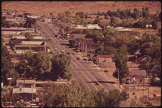 Main Street of Moab. This Old Mormon Pioneer Town Is the Starting Point for Trips North Into the Arches National Mountain Area, and of River Trips South of the Colorado Into Canyonlands National Park, 05/1972 | by The U.S. National Archives
