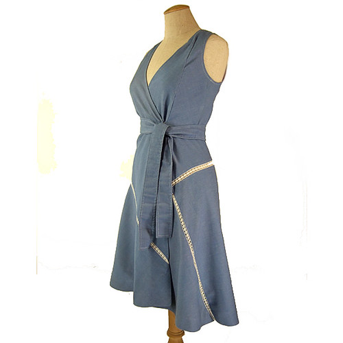 Vintage 1970 S Women S Clothing Blue Chambray Wrap Dress