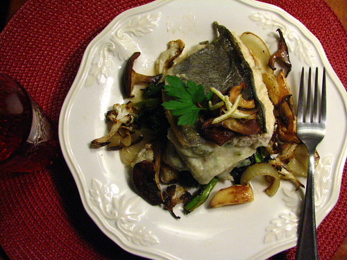 Pan Seared Trout Topped w/ Crispy Shiitake with Parsnip Puree and Roasted Veg | by SeppySills