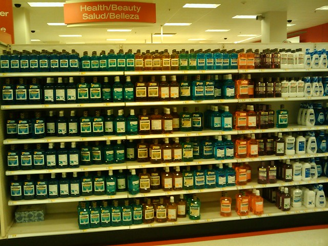 mouthwash on shelf in store