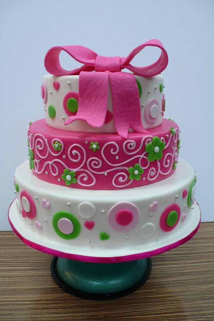 Funky Pink Green Big Bow Wedding Cake  Zoe Elizabeth Gottehrer ...