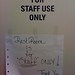 """For """"Staff"""" only"""