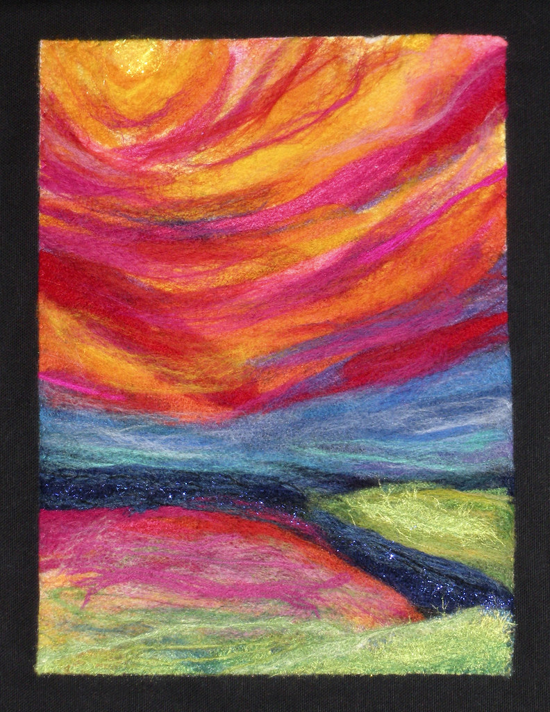 Felted Sunset | 8.5 x 11 inch machine felted wall hanging ...