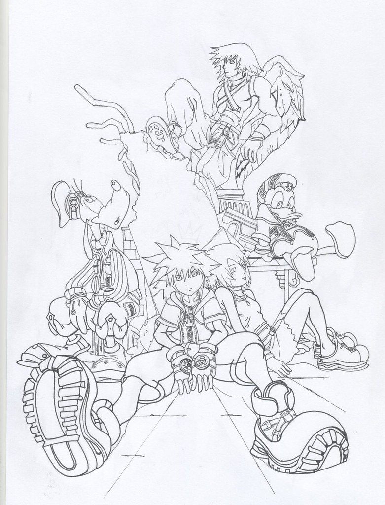 Kingdom Hearts Lineart : Kingdom hearts final mix lineart a drawing from