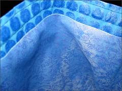 Blue drawstring bag, interior