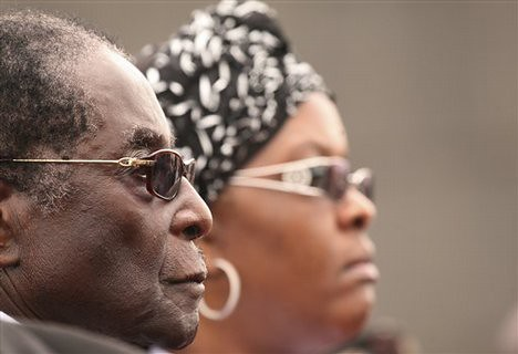 President Robert Mugabe and First Lady Grace Amai of Zimbabwe at the funeral of the MDC leader's wife Susan Tsvangirai. She was killed in a car accident on March 6, 2009. | by Pan-African News Wire File Photos