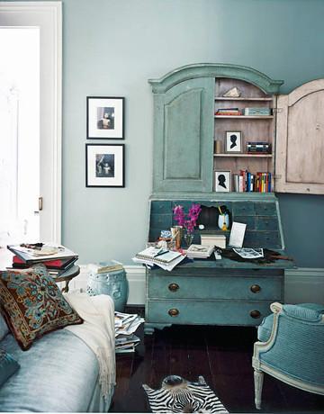 Vintage Secretary Desk >> Blue living room: Martha Stewart 'Grisaille' + painted ant… | Flickr