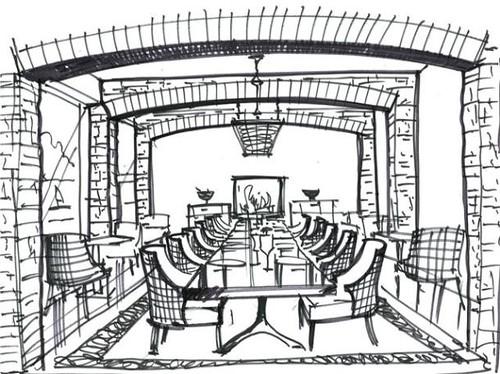 Restaurant sketch garrycohn cliff house hotel