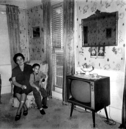 LBJ Visit Day: Mom & Anthony Parlor TV room 1966 60s * 1301 - 57st Brooklyn NYC | by Whiskeygonebad