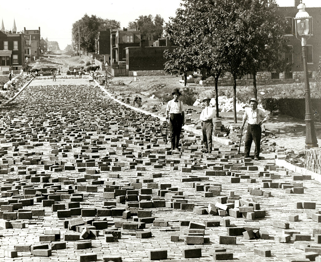 St Louis History In Black And White: Street Pavers, Compton Ave.