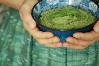 Holding Pesto Dip | by swellvegan