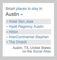 Smart places to stay in Austin on the Social Atlas | by Dopplr.com