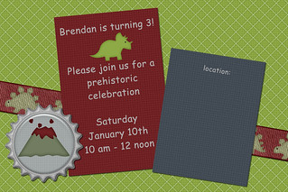 Dinosaur 3rd birthday invite for blog | by Sweet Shoppe Mom and Simply Sweets