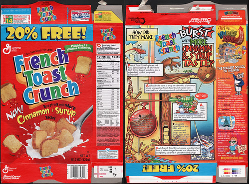 General Mills - French Toast Crunch cereal box -1998 | by JasonLiebig