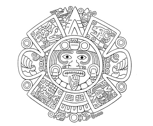 Aztec Calendar Drawing aztec calendar outline related keywords ...