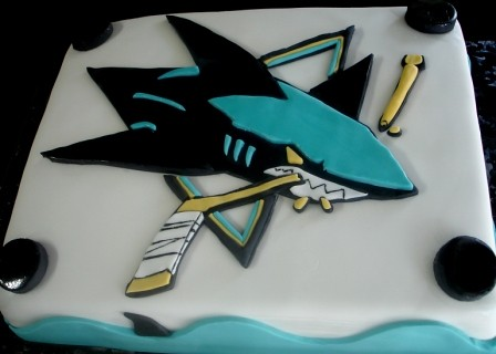 San Jose Sharks Angled  by Jeanne AJs Moonlight Bakery