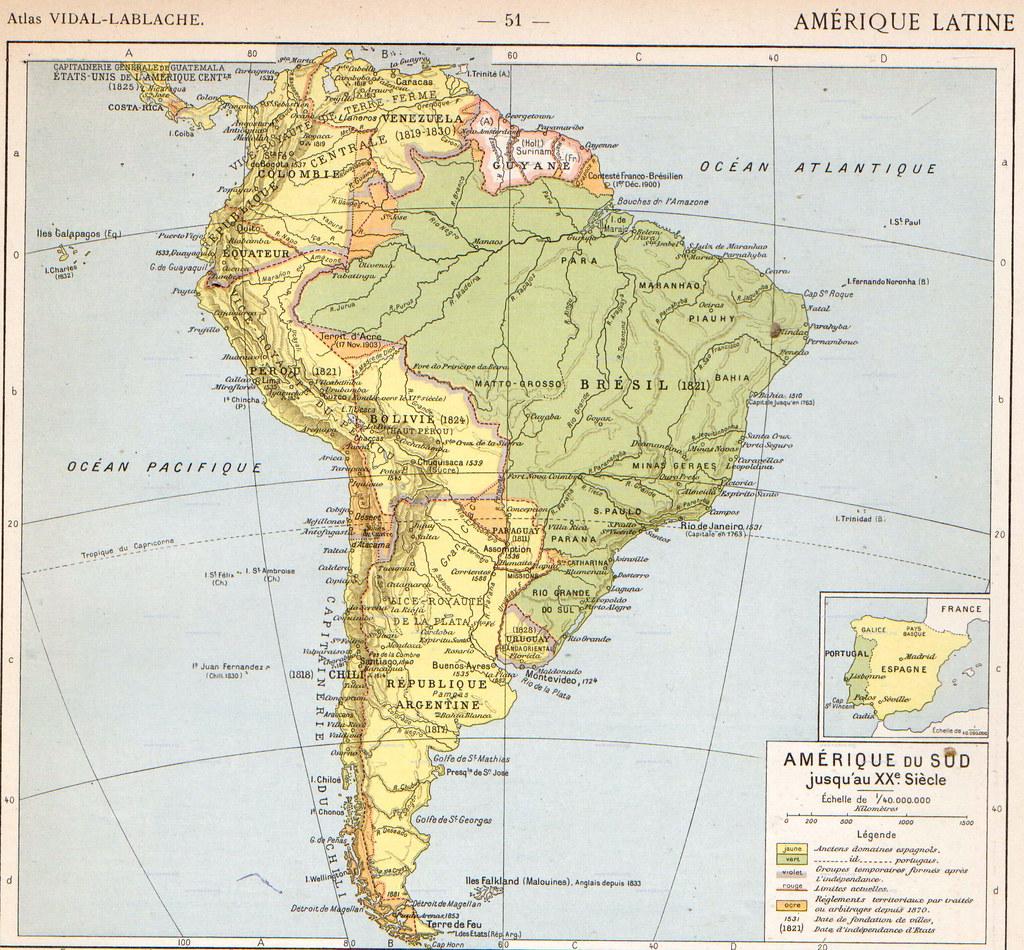 Mapa hist rico de am rica del sur 1912 36 by vidal for Encimeras del sur