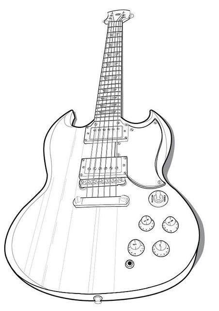 guitar vector outline