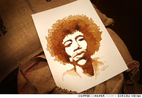Jimi hendrix coffee painting coffee art is a painting for Painting with coffee