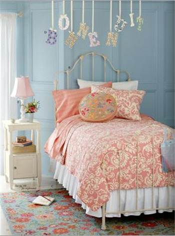 Pink and blue bedroom from the land of nod catalog flickr for Pink and blue girls bedroom