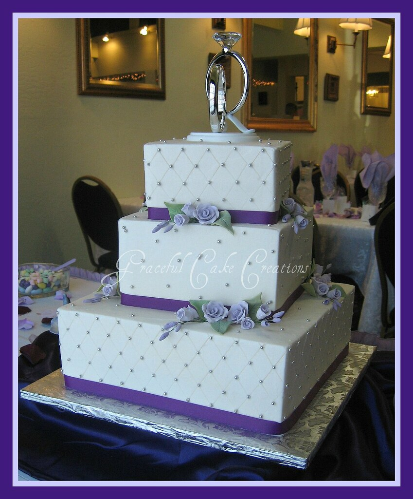 square wedding cake with purple ribbon square wedding cake with lavender roses and purple ribbon 20438