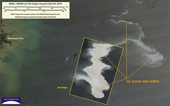 Deepwater Horizon Oil Spill - MODIS/Aqua and Advanced Land Imager, April 25, 2010 - Detail