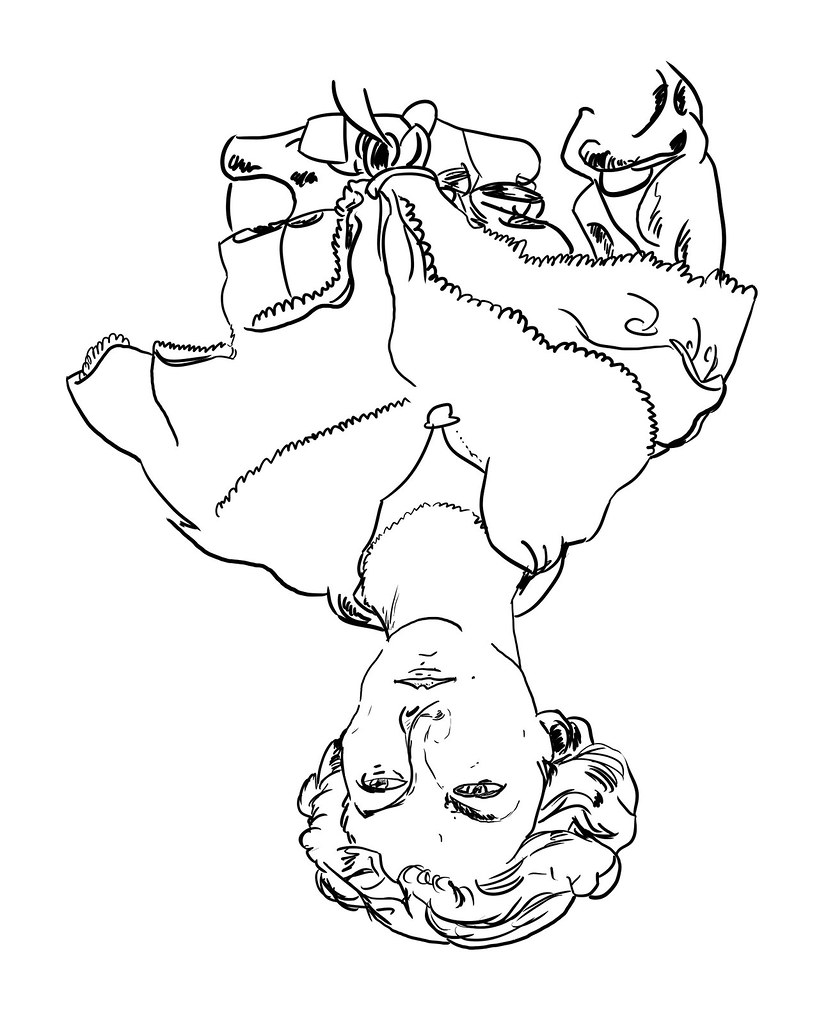 Upside Down Contour Line Drawing : Upside down line drawing