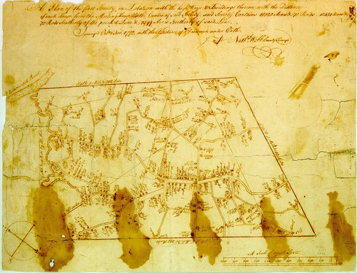 A plan of the first Society in Lebanon with the highways & buildings thereon, with the distance of each house from the meeting house ... | by uconnlibrariesmagic
