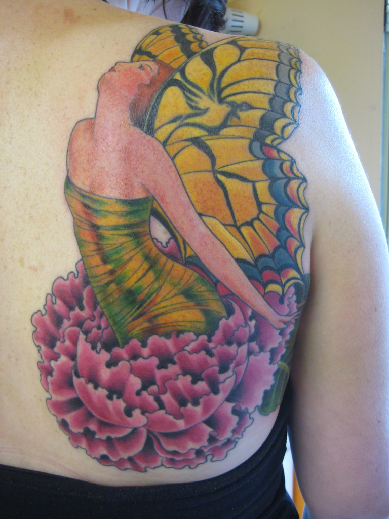 butterfly lady hiding old bird tattoo in wing flickr. Black Bedroom Furniture Sets. Home Design Ideas