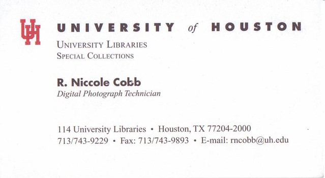 University Of Houston Business Card For R Niccole Cobb Flickr