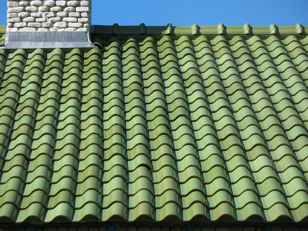 Coolest green tile roof on brick house joey johannsen flickr - Houses with ceramic tile roofing ...