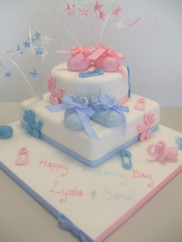 Images Of Christening Cakes For Twins