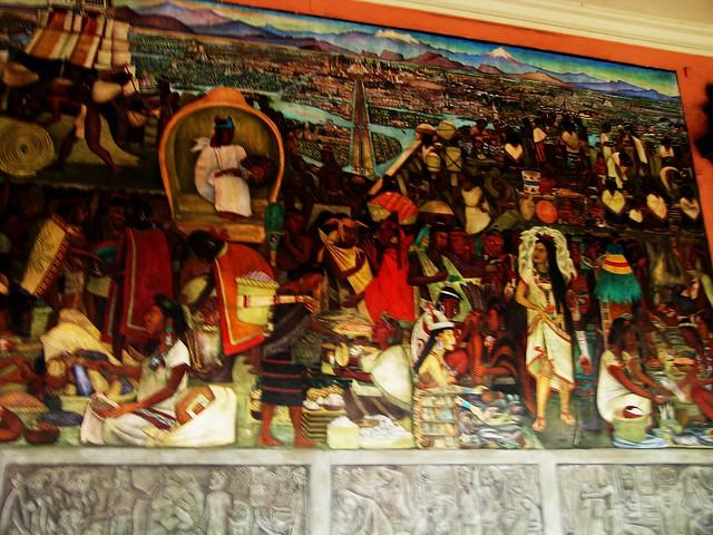 Diego rivera mural tenochitlan market scene flickr for Diego rivera aztec mural