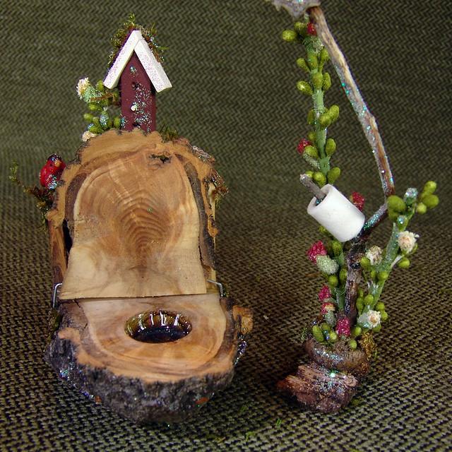 furniture fairy. Miniature Fairy Furniture Toilet With Birdhouse   By Torisaur