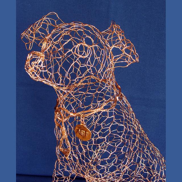 Wire sculpture dog close wire sculpture by ruth jensen for Dog wire art