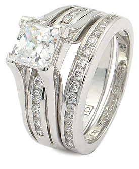 Wedding Ring Set Princess Cut
