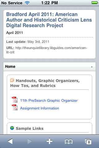 LibGuides Mobile Page, Screenshot 4 | by theunquietlibrary