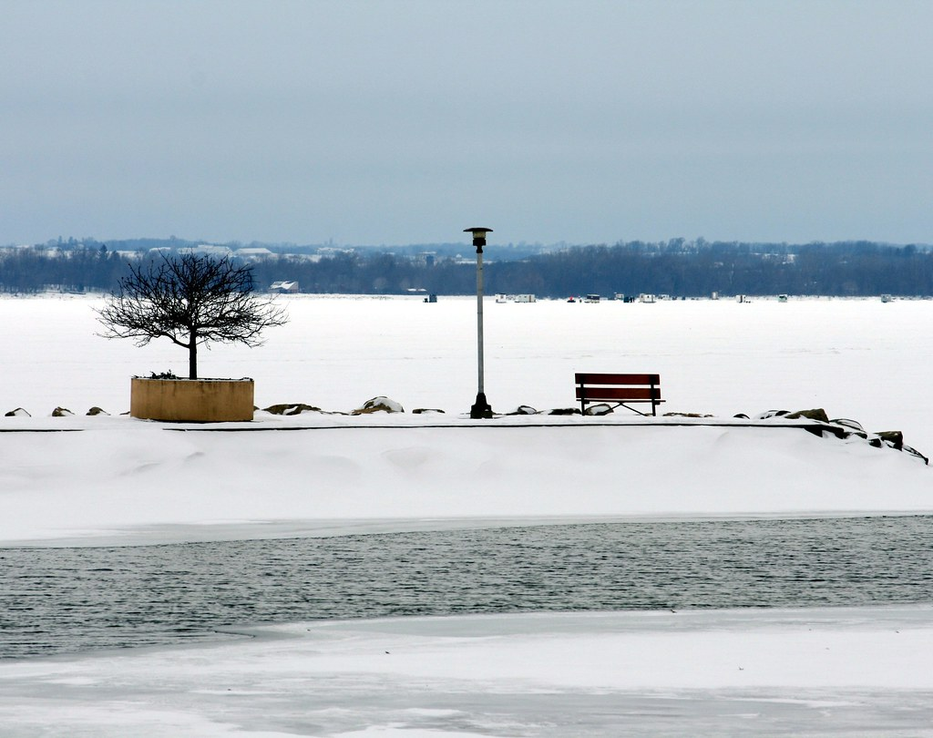 Across the frozen lake view from tenney park lock and for Lake mendota fishing report