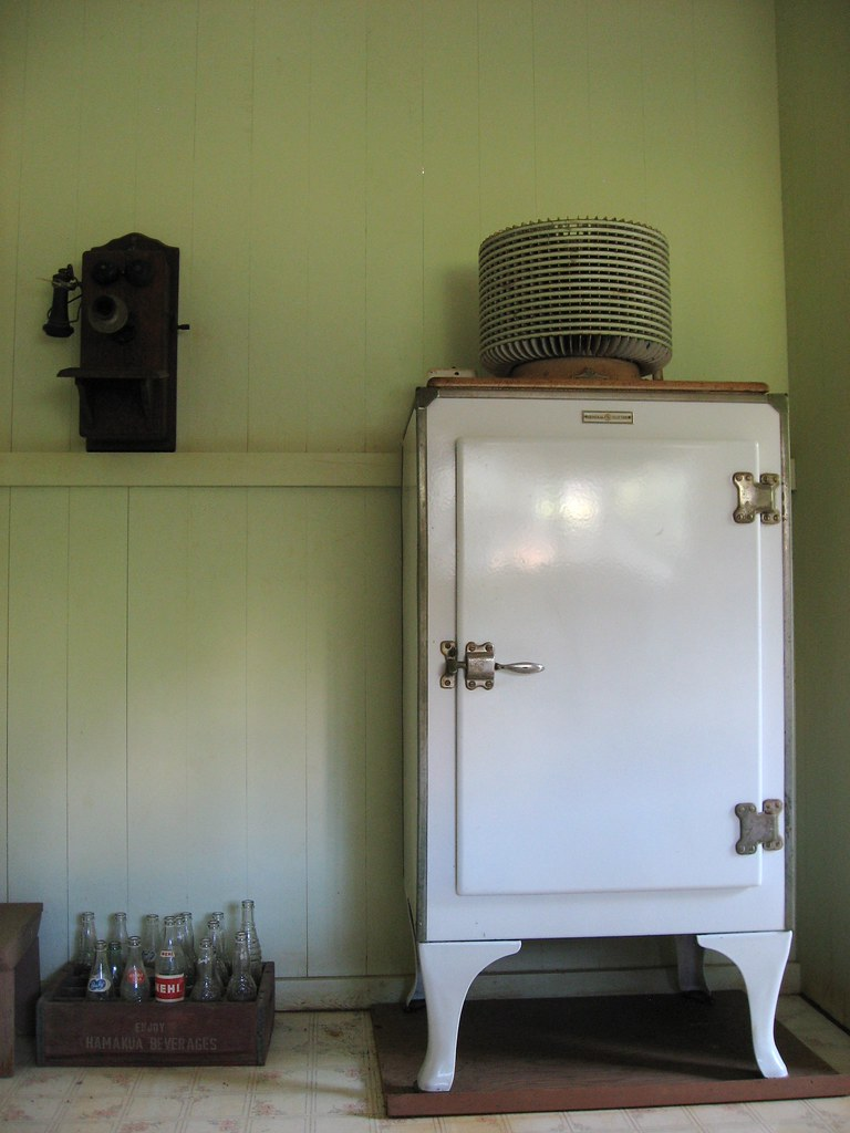 Vintage 1927 Ge Refrigerator In The Kitchen Of The