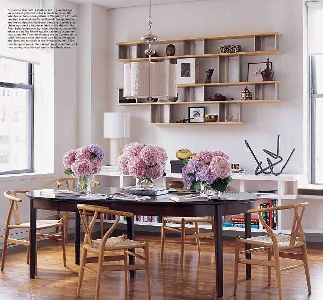 ... Dining Room + Library: Floating Shelves + Wegner Wishbone Chairs, From  Elle Decor |